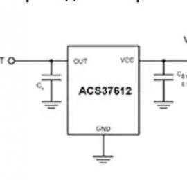 Изображение ИС автономного датчика дифференциального тока ACS37612 без сердечника компании Allegro